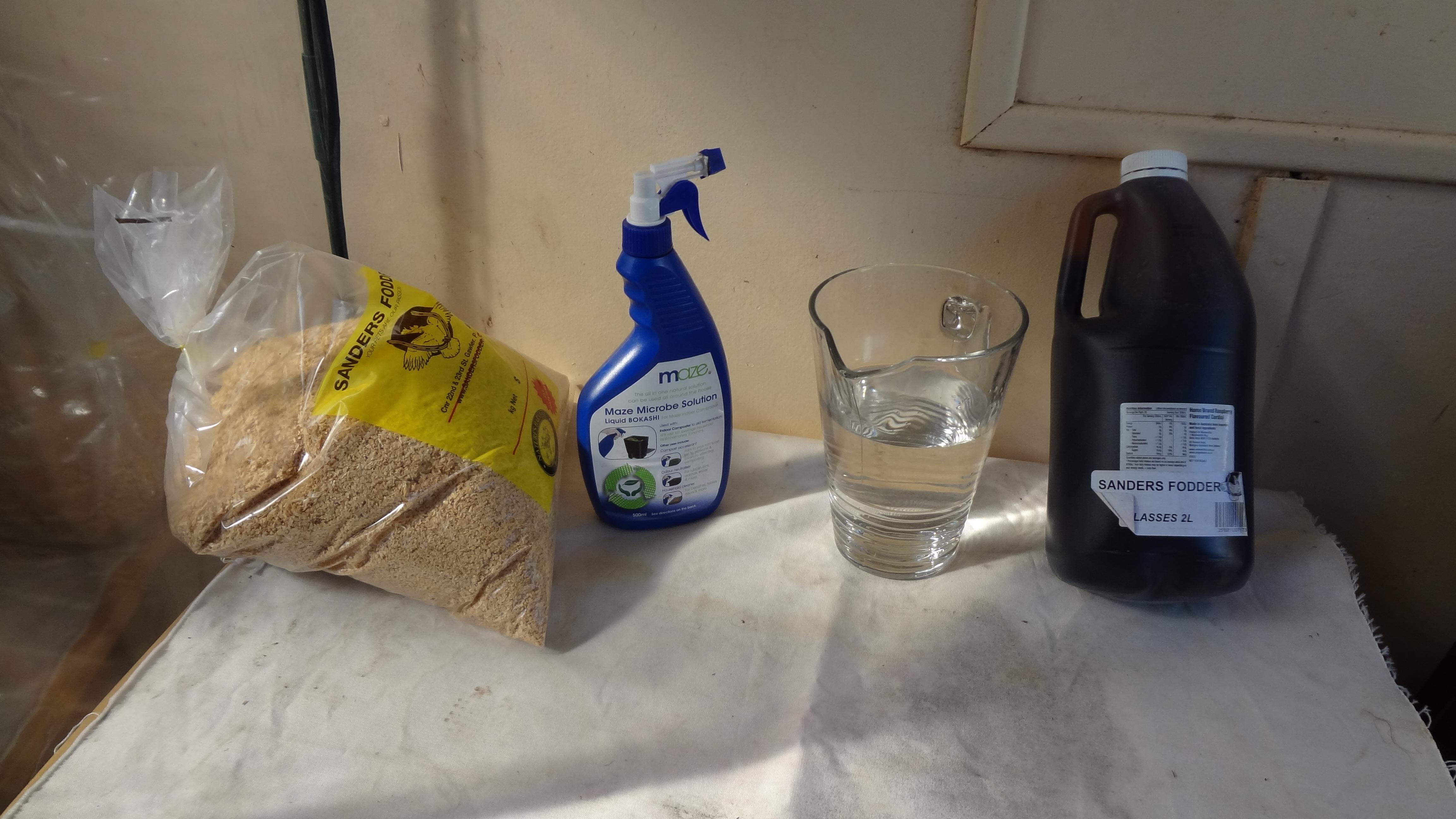 Ingredients for making Bokashi bran
