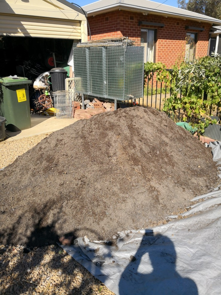 Two and a half cubic metres of soil and compost
