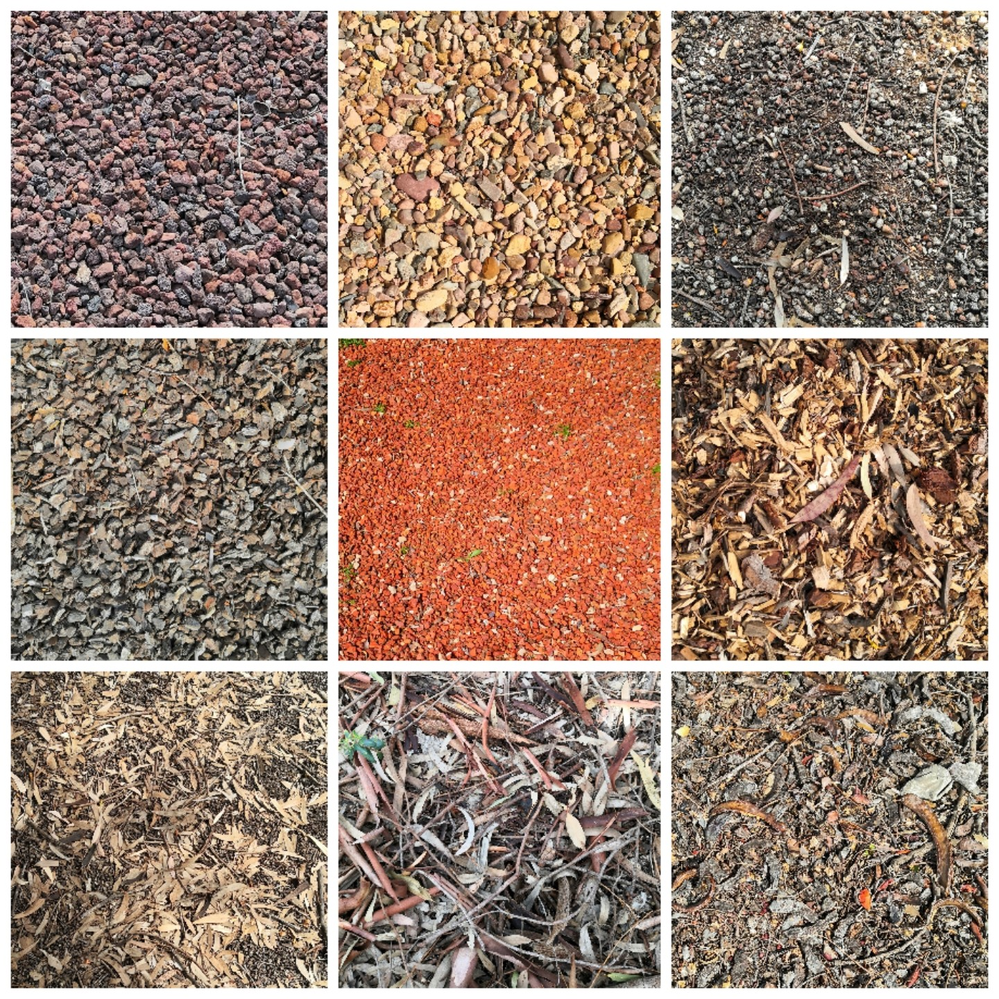 Some types of mulch used by landscapers.