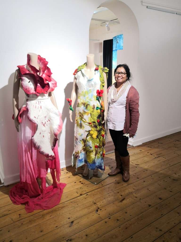Jelina and her wearable contemporary felt artworks.
